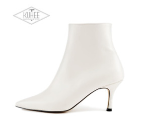 [KUHEE] Handmade Natural Cowhide Zipper Ankle Boots For Women Shoe With Comfort