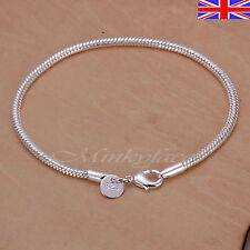 """Silver 925 Sterling Snake Chain Bracelet Rope 3mm Girls Gift 8"""" Free Gift Bag"""