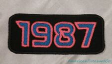 Embroidered Retro Vintage 80s Neon Hot Pink & Blue 1987 Year Patch Iron On USA