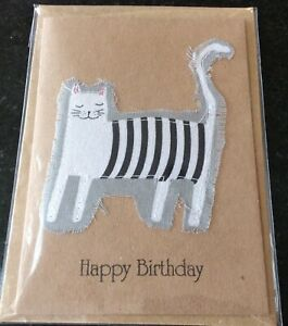 Handmade Birthday Card Fabric Cat Design - blank for your own message,