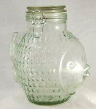 Vintage Fish Shaped Glass Jar, Mason Cookie Bottle
