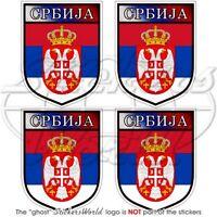 SERBIEN Schild Serbia SERBISCH 50mm Auto Aufkleber x4 Vinyl Stickers Decals