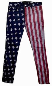 Lip Service Vintage Needle Skinny Jeans Womens Sz 34X32 Button Fly Rare USA Flag