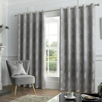 """Curtina Peacock """"Feather"""" Metallic Print Fully Lined Eyelet Curtains Silver"""