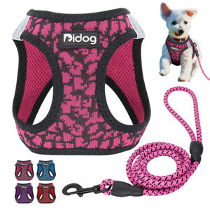 Reflective Dog Harness and Leash Mesh Pet Walking Vest for Small Puppy Dog & Cat