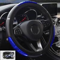 1x Black Blue 15''/38cm Car Steering Wheel Cover PU Leather Anti Slip Breathable