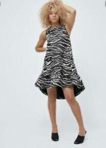 Zebra Crystal Pop On Dress Black Stripe Size 8 New Was £129