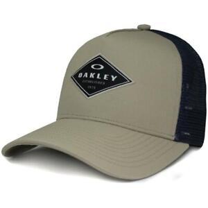 Oakley Fracture 2.0 Trucker Cap Mens Safari Khaki Navy Boys Baseball Hat