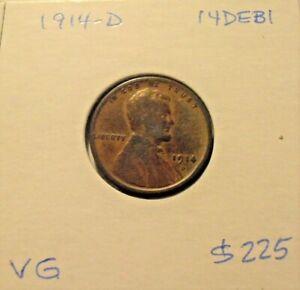 1914 D Lincoln Cent, semi-key wheat cent (14DEB1)