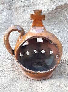 Candlestick Ladanka clay Ukraine Poltava Oposhnya 1920s Very Rare