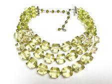 Tarina Tarantino Corte Lucite grano verde y cristal de 3 Cuerdas Nuevo Collar Gargantilla