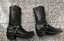 FRYE Black Leather Harness Moto Boots