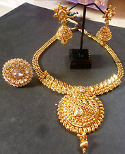Antique Gold Plated Kundan Indian Wedding Necklace Earrings Tikka Ring Golden 25