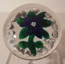 SALE PRICE* BEAUTIFUL Antique NEGC COBALT BLUE CLEMATIS With GARLAND Paperweight