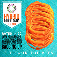 3 Metres - Hybrid Pole Fishing Elastic Size 14-20 Orange (2.2mm) - Free Delivery