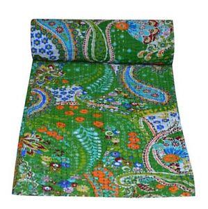 Indian Kantha Blanket Twin Size Kantha Quilt Green Paisley Bedding Bedspread