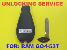 Unlock SERVICE & UNCUT E-Key For Factory Dodge Ram Pick-Up Remote FOBIK GQ4-53T