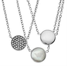 EMPORIO ARMANI SILVER 3 INTERLOCKING CHAINS,MOP,PAVE CHARMS,NECKLACE-EGS2350
