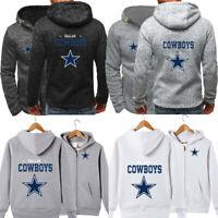 Dallas Cowboys Hoodie Football Hooded Sweatshirt Fleece Coat Full-Zip Jacket