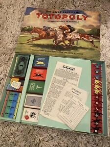Vintage Totopoly Board Game Waddington's 1949 with Metal Horses Rare Racing