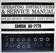 SANSUI AU-777A SS ST Amp operating instructions et service manual Livre Anglais