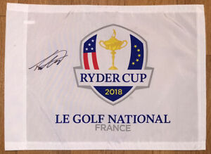 Tommy Fleetwood signed Ryder Cup 2018 Le Golf National pin flag. COA. Proof.