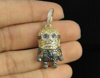 2Ct Round Cut Diamond 3D Minion Men's Cartoon Pendant in 14K Yellow Gold Over