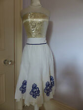 Gorgeous HIJKLM VWXYZ white flared skirt with blue embroidery size 10