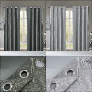 Thermal Grey Silver Shimmer Sparkle Stamped Blackout Eyelet/Ring Top Curtains