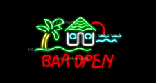 "New Bar Open Palm Tree Bar Light Beer Decor Real Glass Neon Sign 32""x24"""