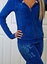 Victoria's Secret PINK Lounge Set Hoodie Pants Outfit Bling Blue Terry Cloth SET
