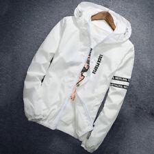 Men's Thin Windbreaker Slim Casual Jacket Hooded Coat Hoodie Zipper Up Overcoat