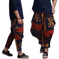 Men Ethnic Vintage Hip-hop Elastic Waist Cotton Linen Long Baggy Harem Pants