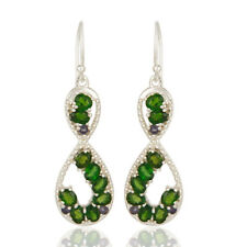 Chrome Diopside, Iolite Infinity Dangle Earrings Silver Gemstone Jewelry