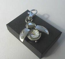 Silvertone Ladybird Bug Quartz Watch Keyring Handbag Charm - Perfect Gift Idea