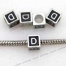 10x 150747 Hot Charms Letter D Enamel Black Square Beads Fit European Bracelets