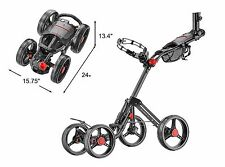 The Explorer V2,CaddyTek SuperLite Deluxe 4 Wheel Golf Push Cart Ver. 2, BLACK