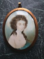 18th Century English School Portrait Miniature Painting of a Young Lady