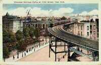 Elevated Railroad Curve 110th Street New York City NY Train RR 1910's Postcard