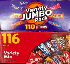 Mars 116 VARIETY MIX &/ Cadbury 110 VALUE JUMBO Pack Milk Chocolate Wholesale
