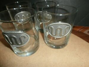 4 King Ranch Running W Glass Tumblers - Water Glasses w/ Pewter