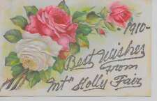 Mt Holly Fair Pennsylvania Best Wishes From flowers glittered antique pc Z18021