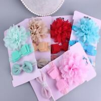 3Pcs/Set Baby Girl Bow Headband Ribbon Elastic Headdress Newborn Hair Band
