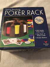 New listing Deluxe Revolving Poker Rack 200 Chips 2 Decks Cards Dealer Button LazySusan Base