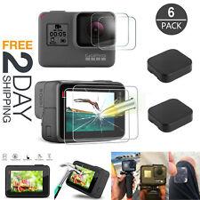 6Pcs Tempered Glass Screen Protector GoPro Hero 7 Black 6 5 4 Lens Clear Cap