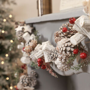 155cm Rustic Christmas Berry Pinecone Garland Stairs Fireplace Mantel Decoration