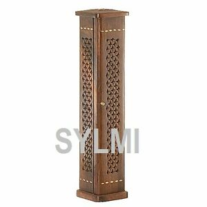 INCENSE BURNER Tall Wood Stand Tower/Sticks/Cone/Holder/Ash Catcher COFFIN BOX