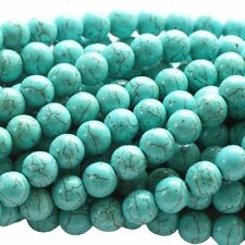 Turquoise Howlite 4mm Round Beads for DIY Jewelry Making 16 Inch Strand D3r