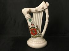 Vintage Crested China Harp Sutton A&S Stoke On Trent Arcadian Made In England