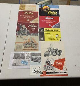 Lot of 11 Vintage Indian Motorcycle Brochures